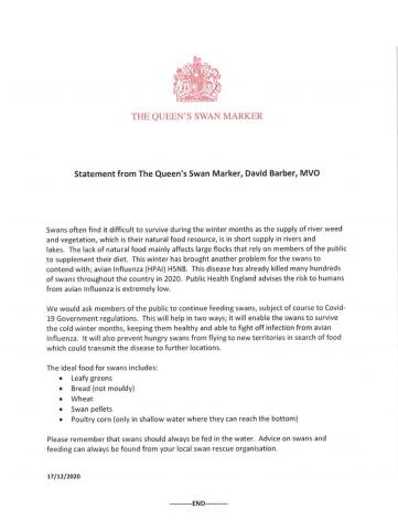 Statement by The Queen's Swan Marker